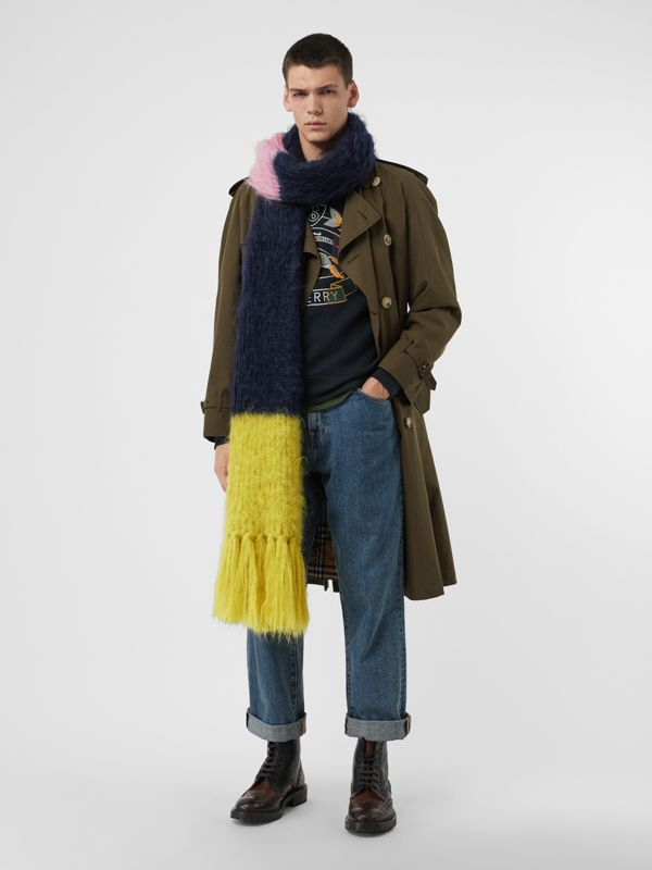 Colour Block Mohair Silk Oversized Scarf in Ink Blue - Women | Burberry - cell image 3