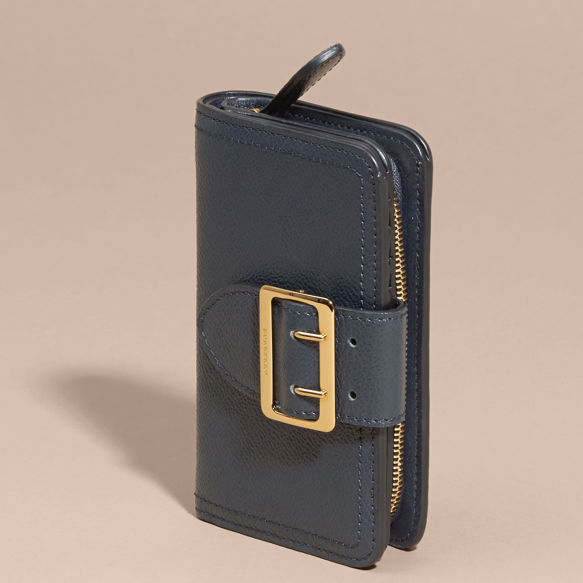Blue carbon Buckle Detail Grainy Leather Wallet Blue Carbon - gallery image 3