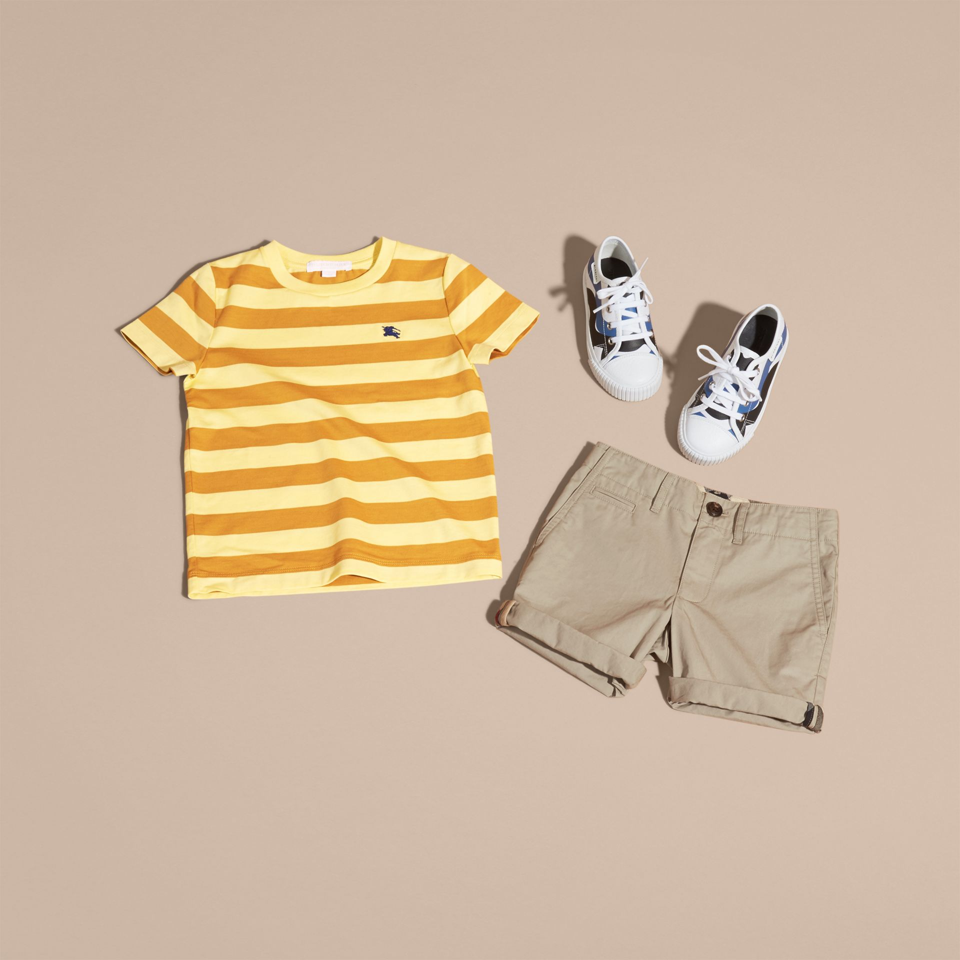 Striped Cotton T-shirt in Pale Yellow/ochre Yellow - Boy | Burberry Hong Kong - gallery image 5