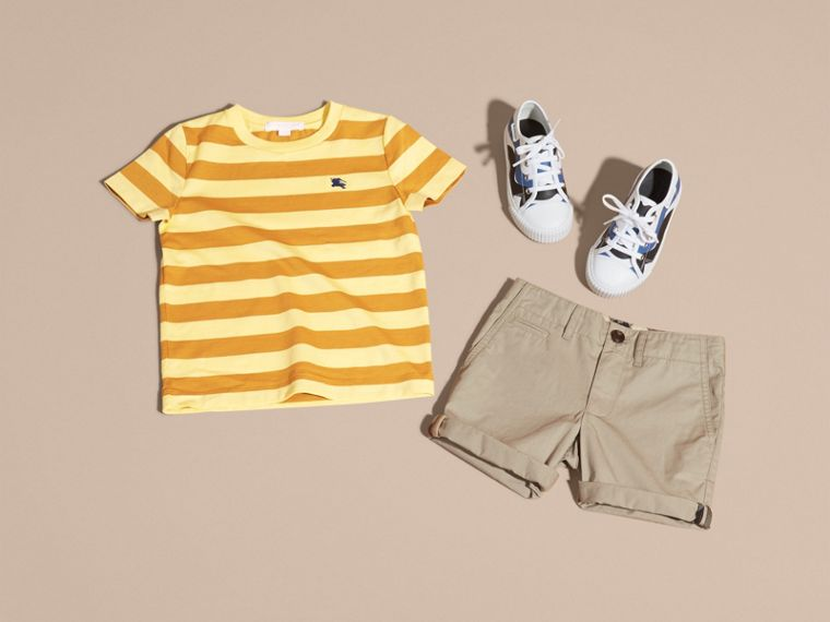 Striped Cotton T-shirt in Pale Yellow/ochre Yellow - Boy | Burberry - cell image 4