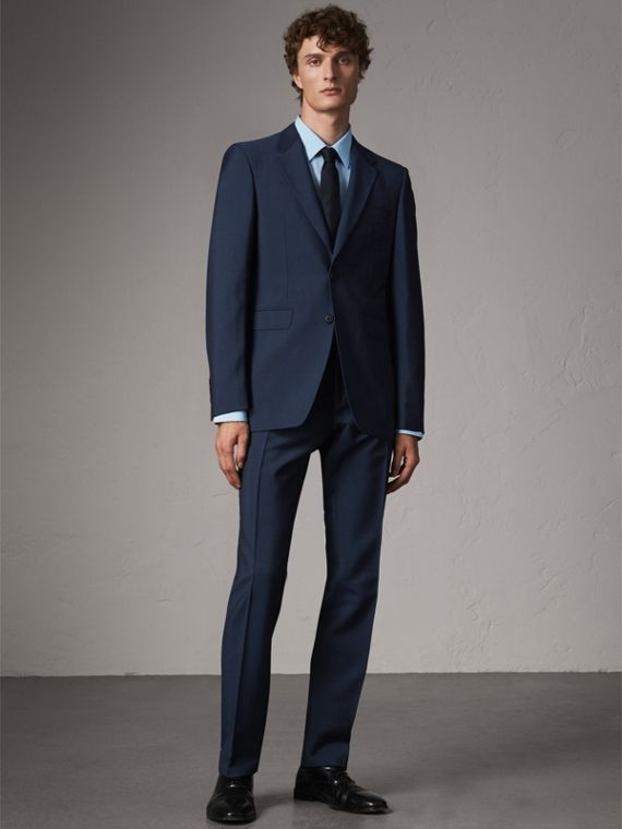 Modern Fit Wool Mohair Part-canvas Suit in Royal Navy