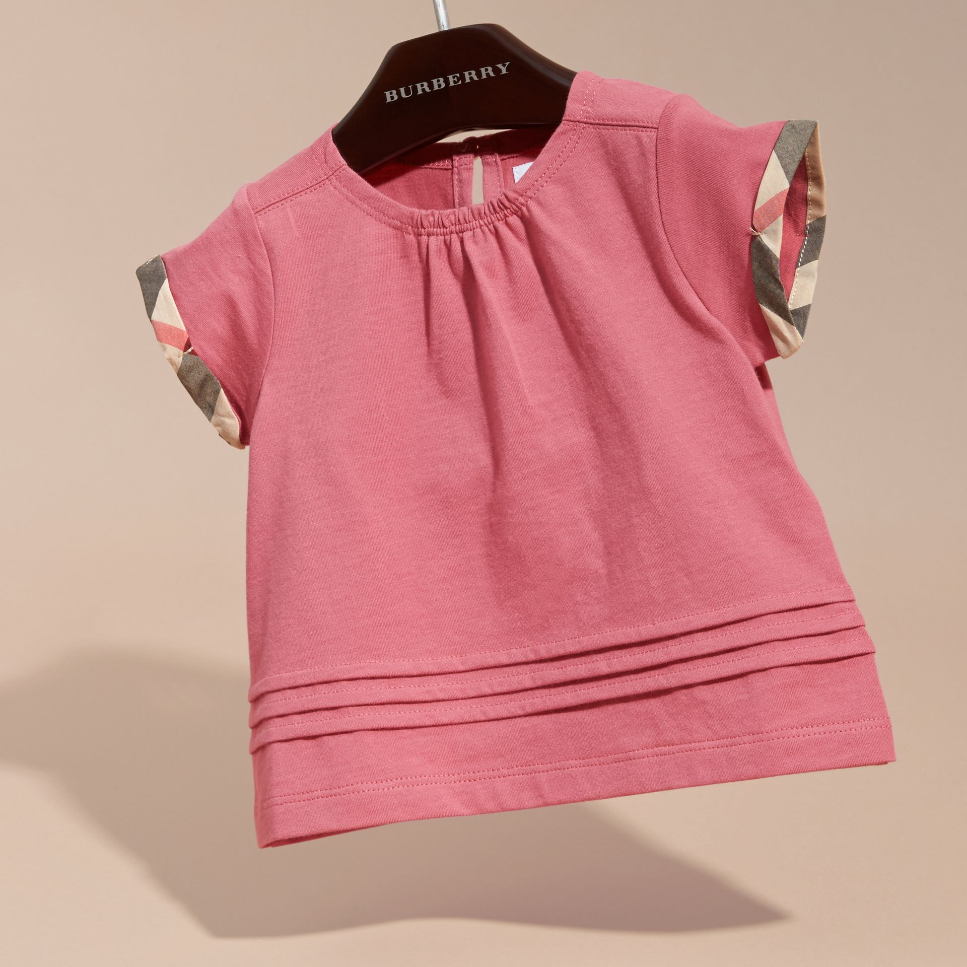Check Trim Cotton T-shirt Pink Azalea - gallery image 3