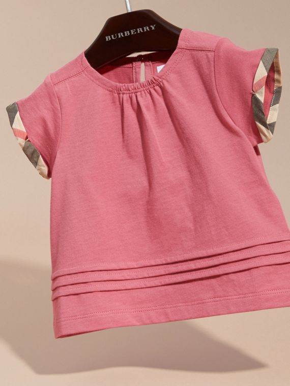 Pink azalea Check Trim Cotton T-shirt - cell image 2