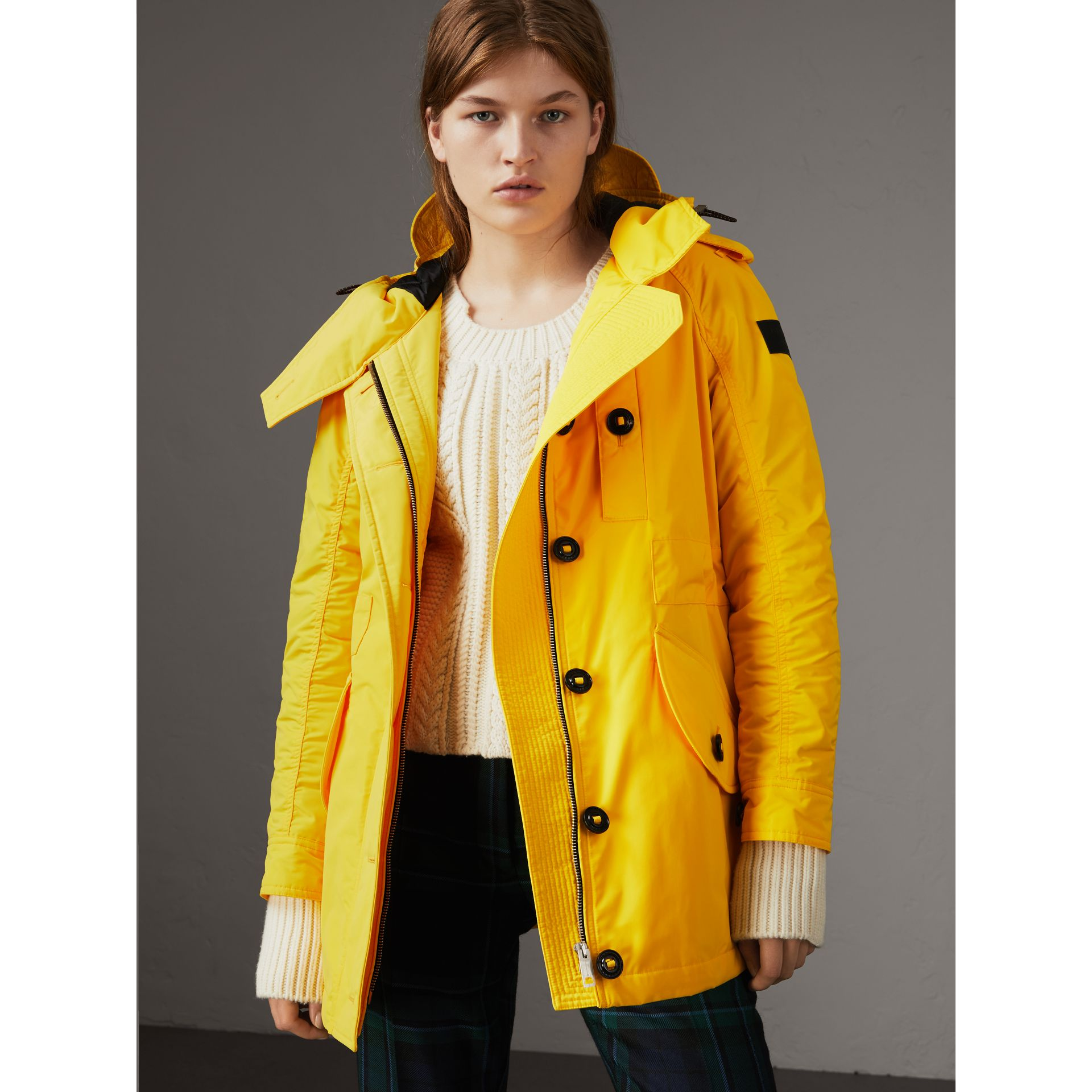 Technical Taffeta Hooded Parka in Bright Yellow - Women | Burberry United Kingdom - gallery image 1