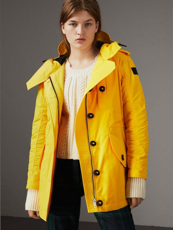Technical Taffeta Hooded Parka in Bright Yellow