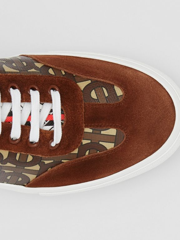 Suede Detail Monogram Stripe Sneakers in Bridle Brown - Men | Burberry - cell image 1