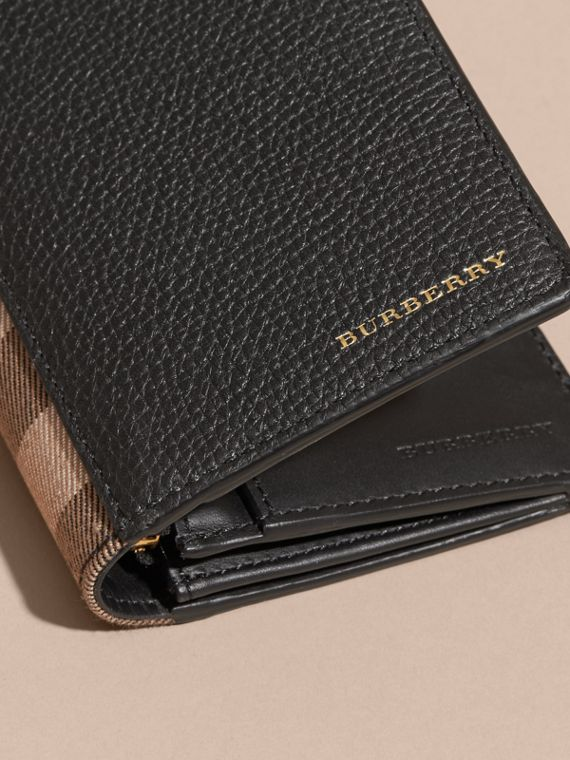 House Check and Grainy Leather Continental Wallet in Black - cell image 2