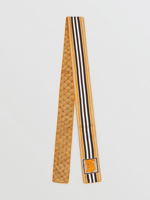 Monogram, Icon Stripe and Fish-scale Print Silk Skinny Scarf in Soft Camel