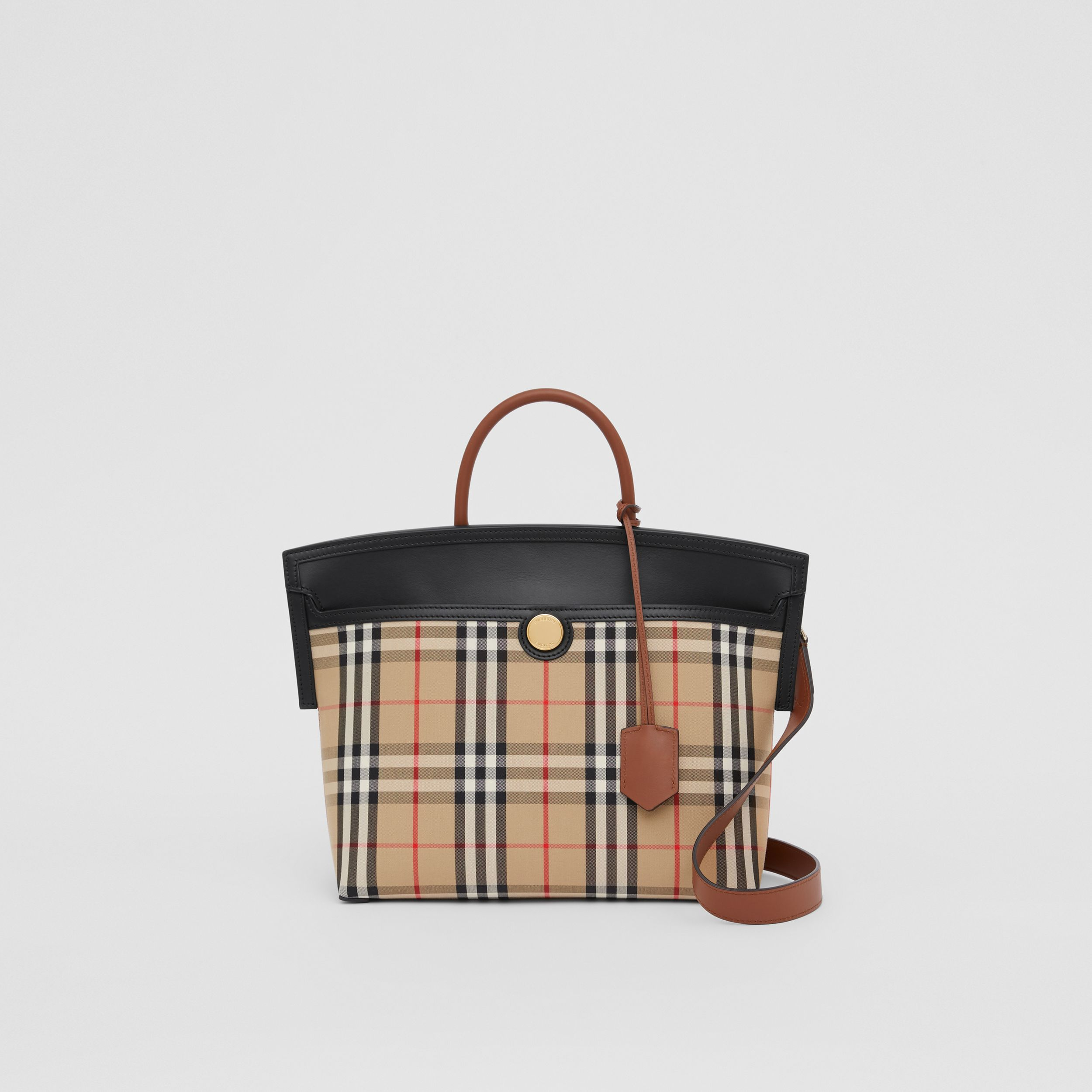 Small Vintage Check Society Top Handle Bag in Archive Beige/black - Women | Burberry Canada - 1