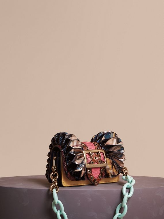 The Ruffle Buckle Bag in Snakeskin, Calfskin and Check