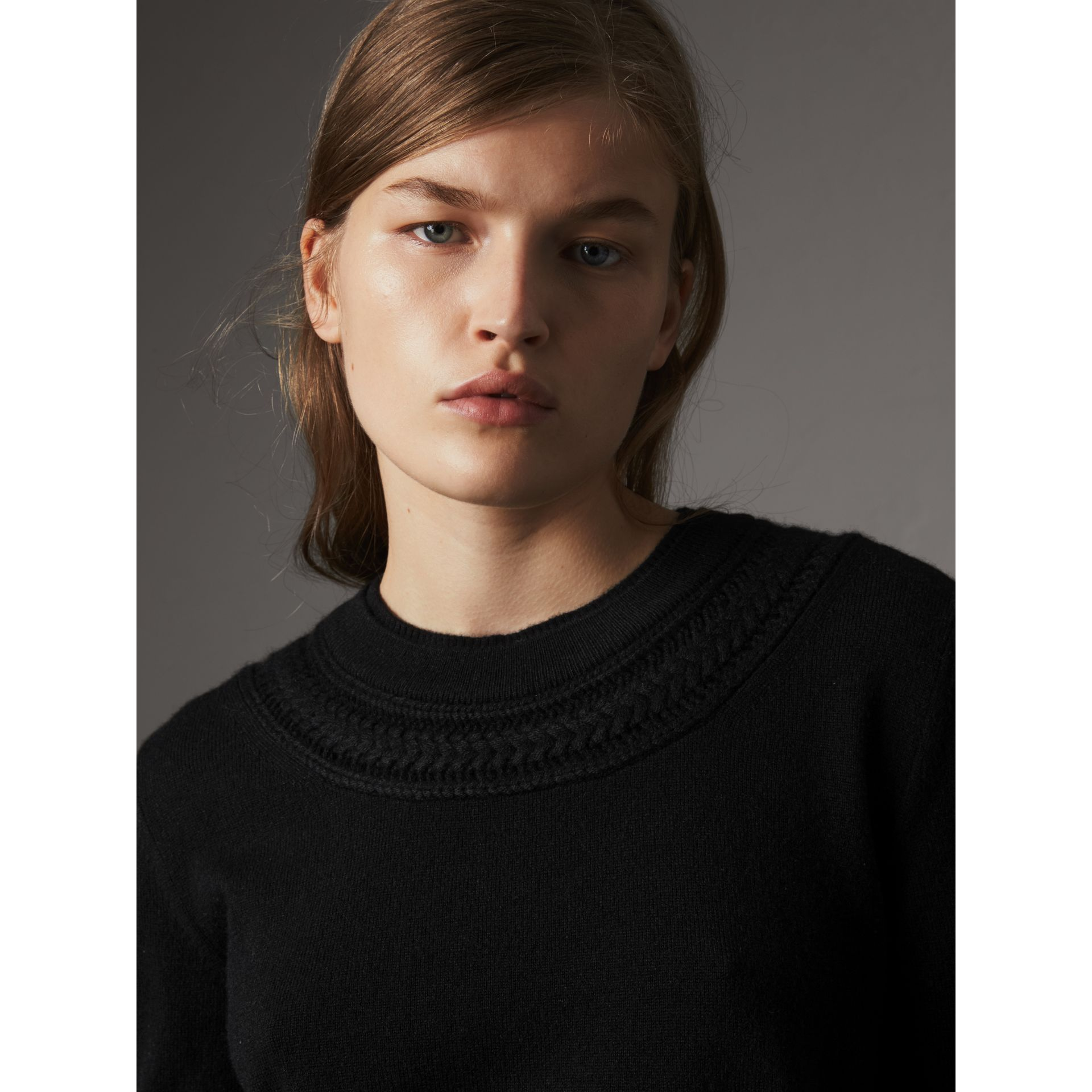 Cable Knit Yoke Cashmere Sweater in Black - Women | Burberry - gallery image 2