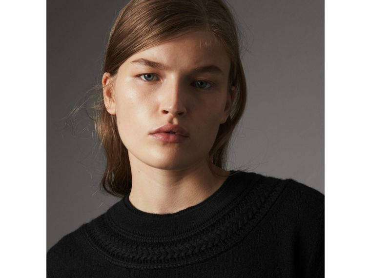 Cable Knit Yoke Cashmere Sweater in Black - Women | Burberry - cell image 1