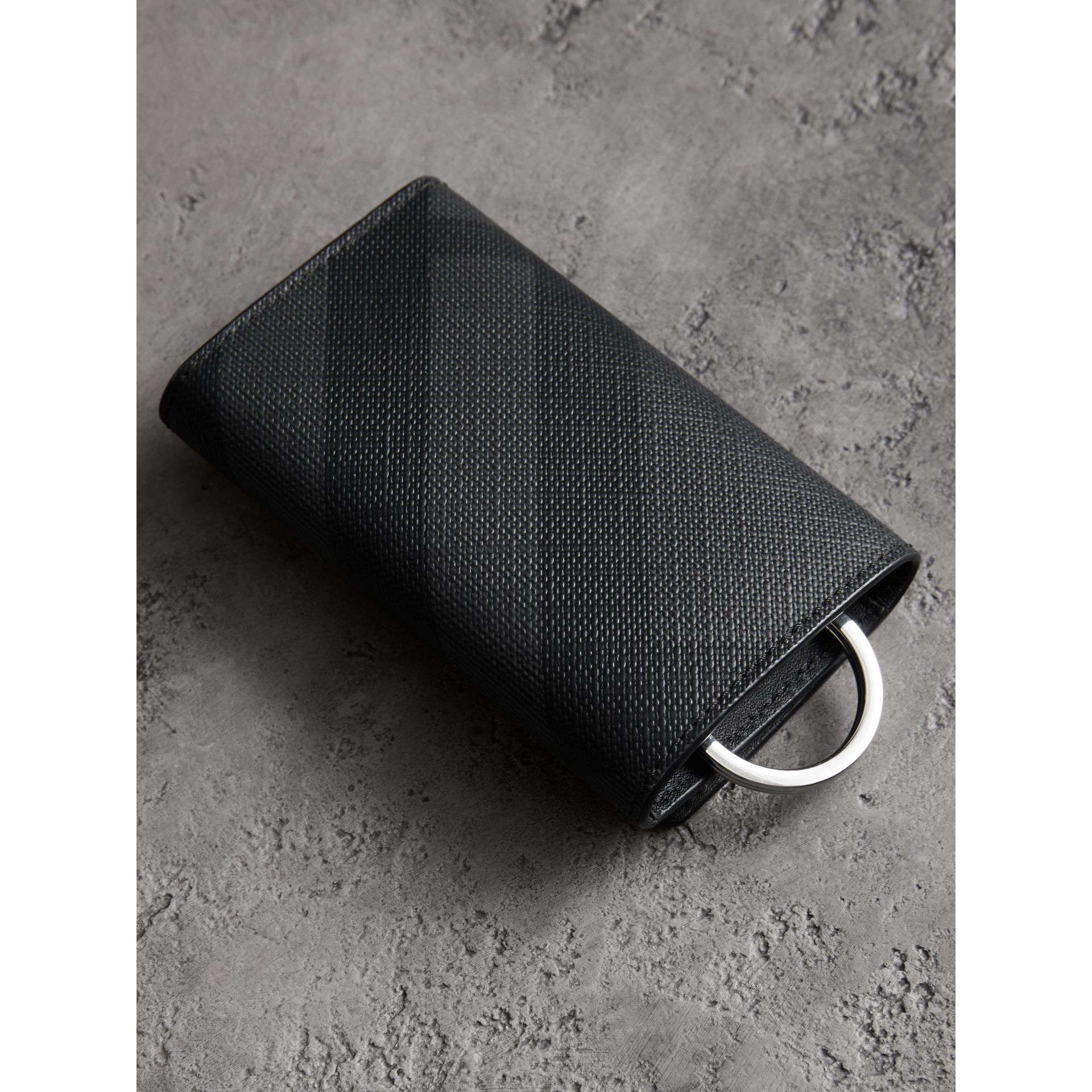 Leather Trim London Check Key Case in Charcoal/black - Men | Burberry United Kingdom - gallery image 3