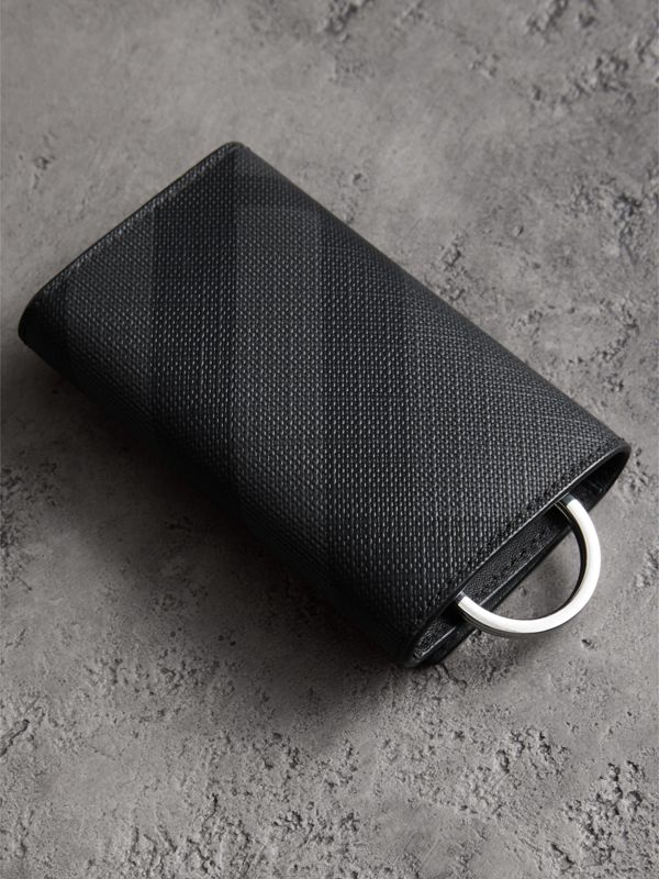 Leather Trim London Check Key Case in Charcoal/black - Men | Burberry - cell image 3