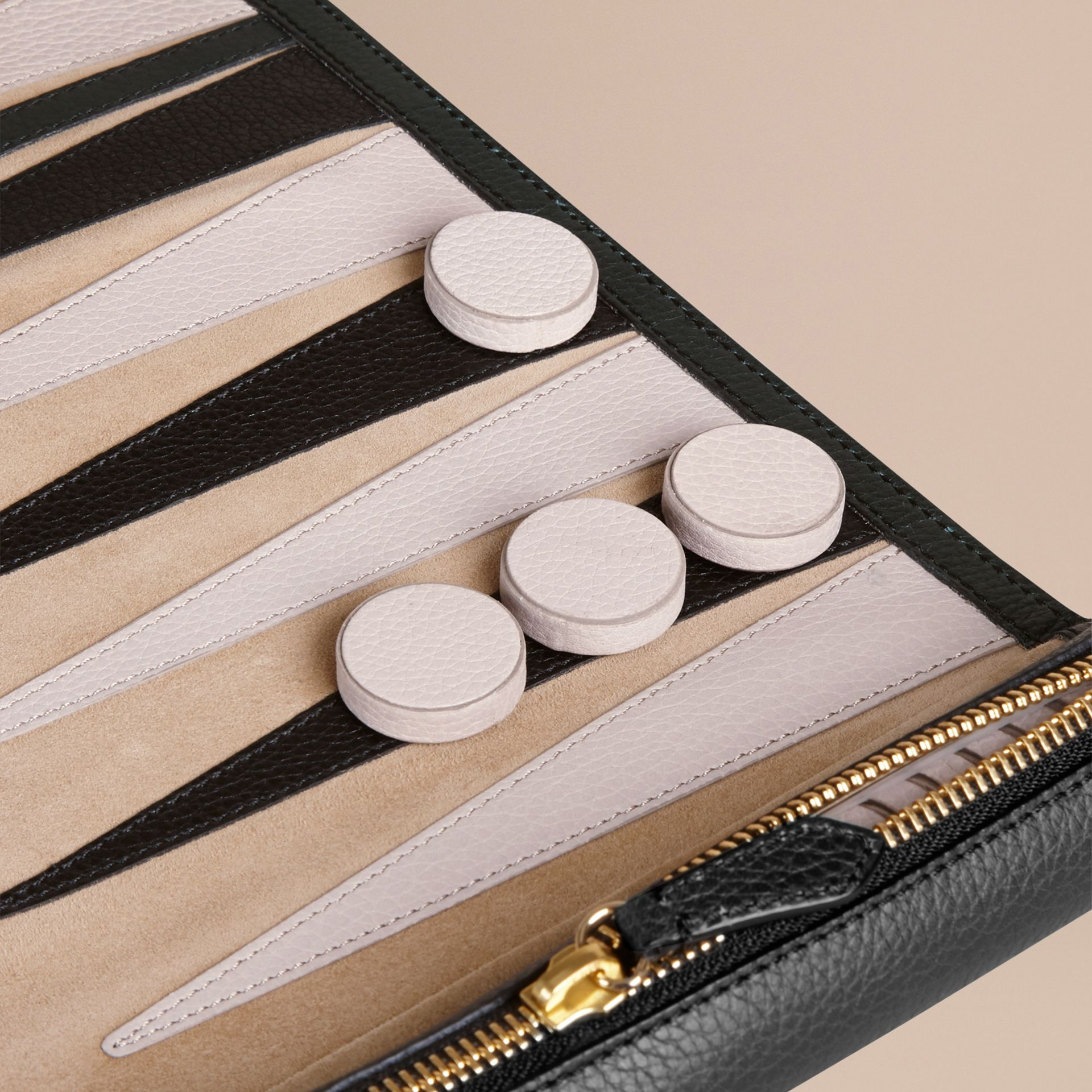 Leather Travel Backgammon Set in Dark Forest Green - gallery image 2