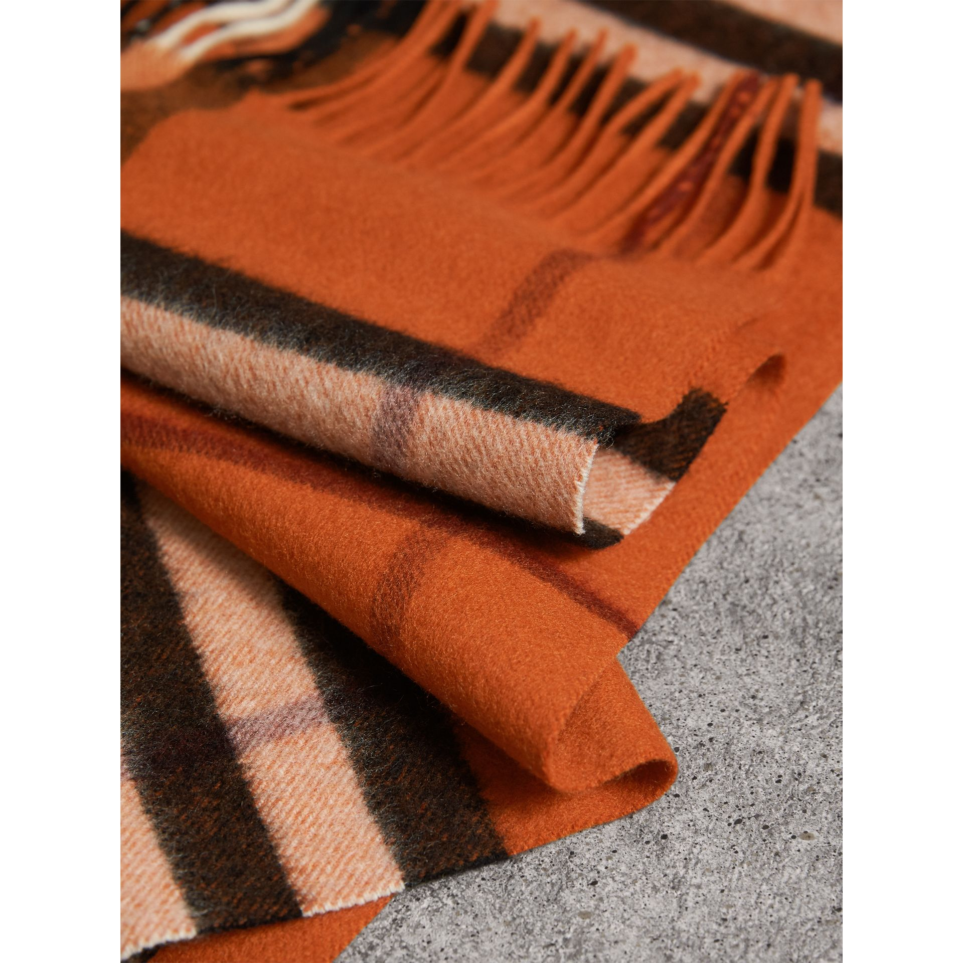 The Classic Cashmere Scarf in Check in Burnt Orange | Burberry Australia - gallery image 5