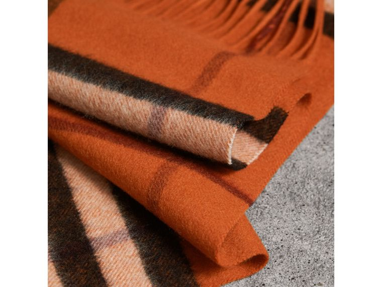 The Classic Cashmere Scarf in Check in Burnt Orange | Burberry Australia - cell image 4