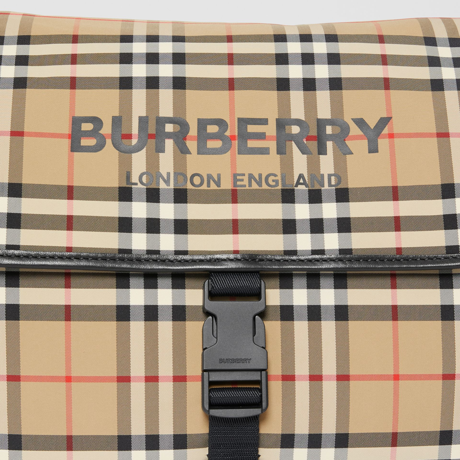 Logo Print Vintage Check Baby Changing Bag in Archive Beige - Children | Burberry - gallery image 1