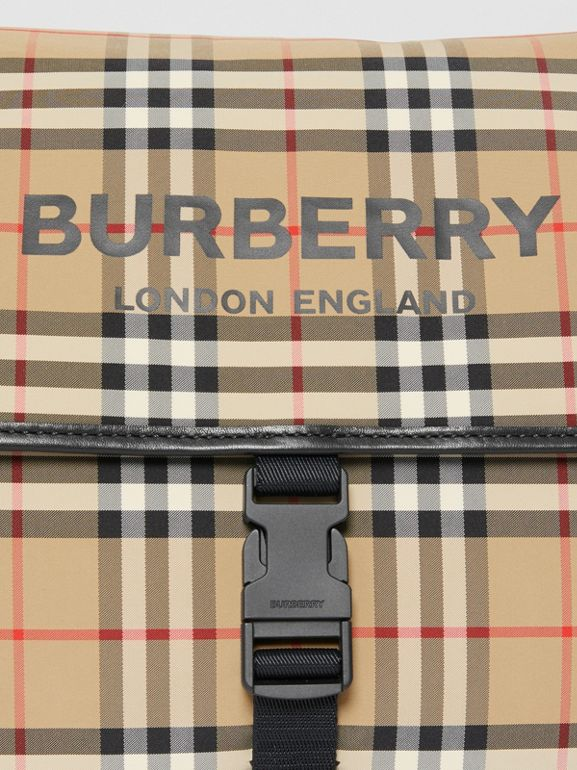 Logo Print Vintage Check Baby Changing Bag in Archive Beige - Children | Burberry - cell image 1