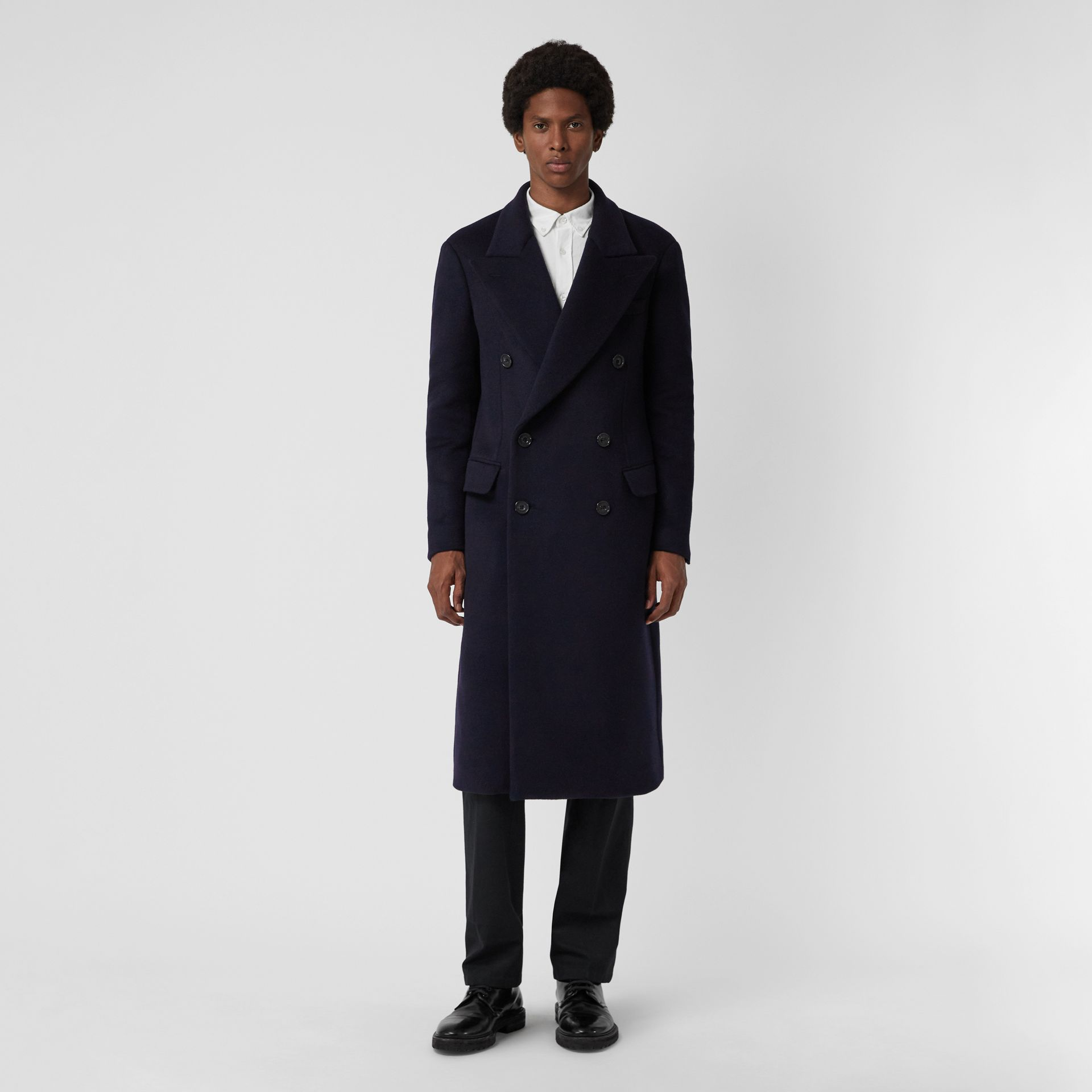 Double-faced Cashmere Tailored Coat in Navy - Men | Burberry Singapore - gallery image 4