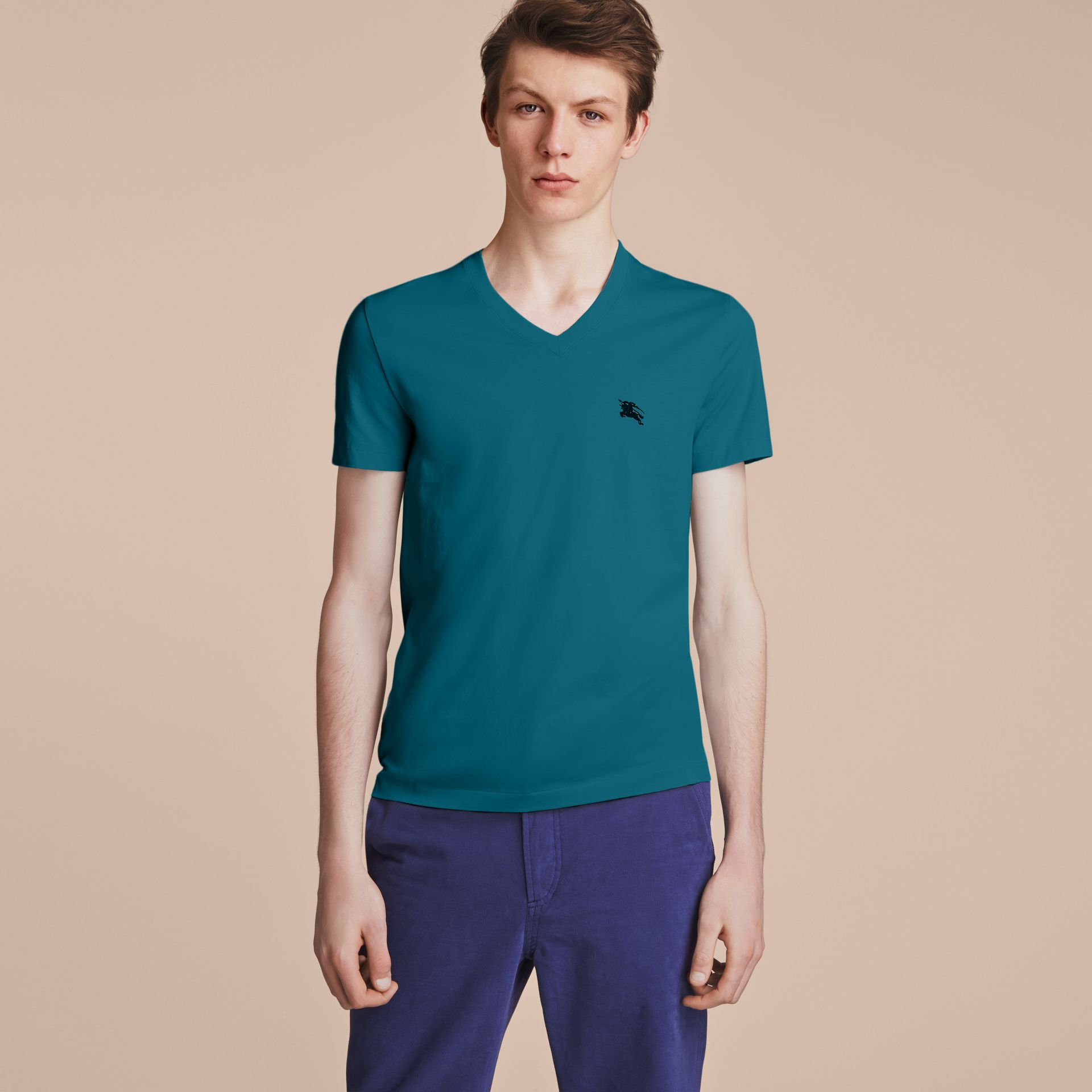 Cotton V-neck T-shirt in Mineral Blue - gallery image 6