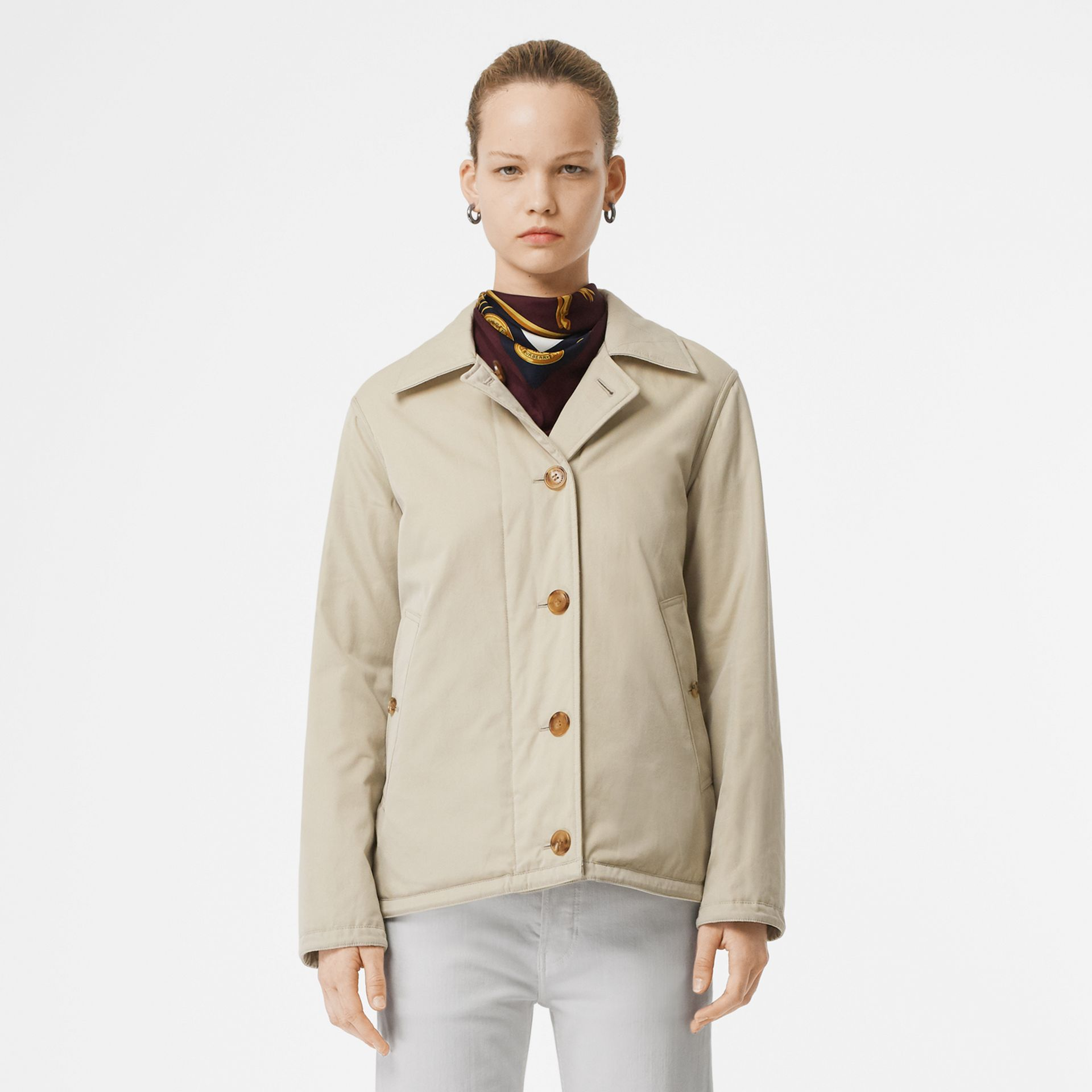 Reversible Quilted Cotton Jacket in Natural White - Women | Burberry - gallery image 8
