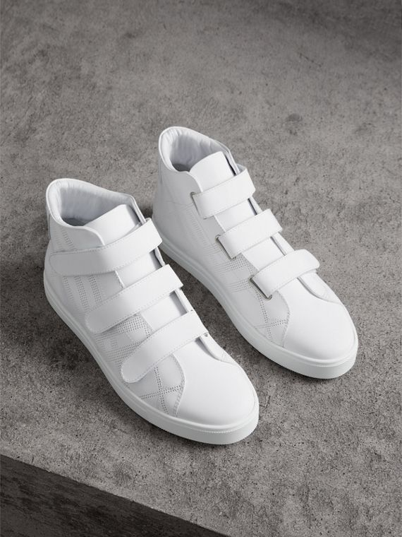 Perforated Check Leather High-top Trainers in Optic White
