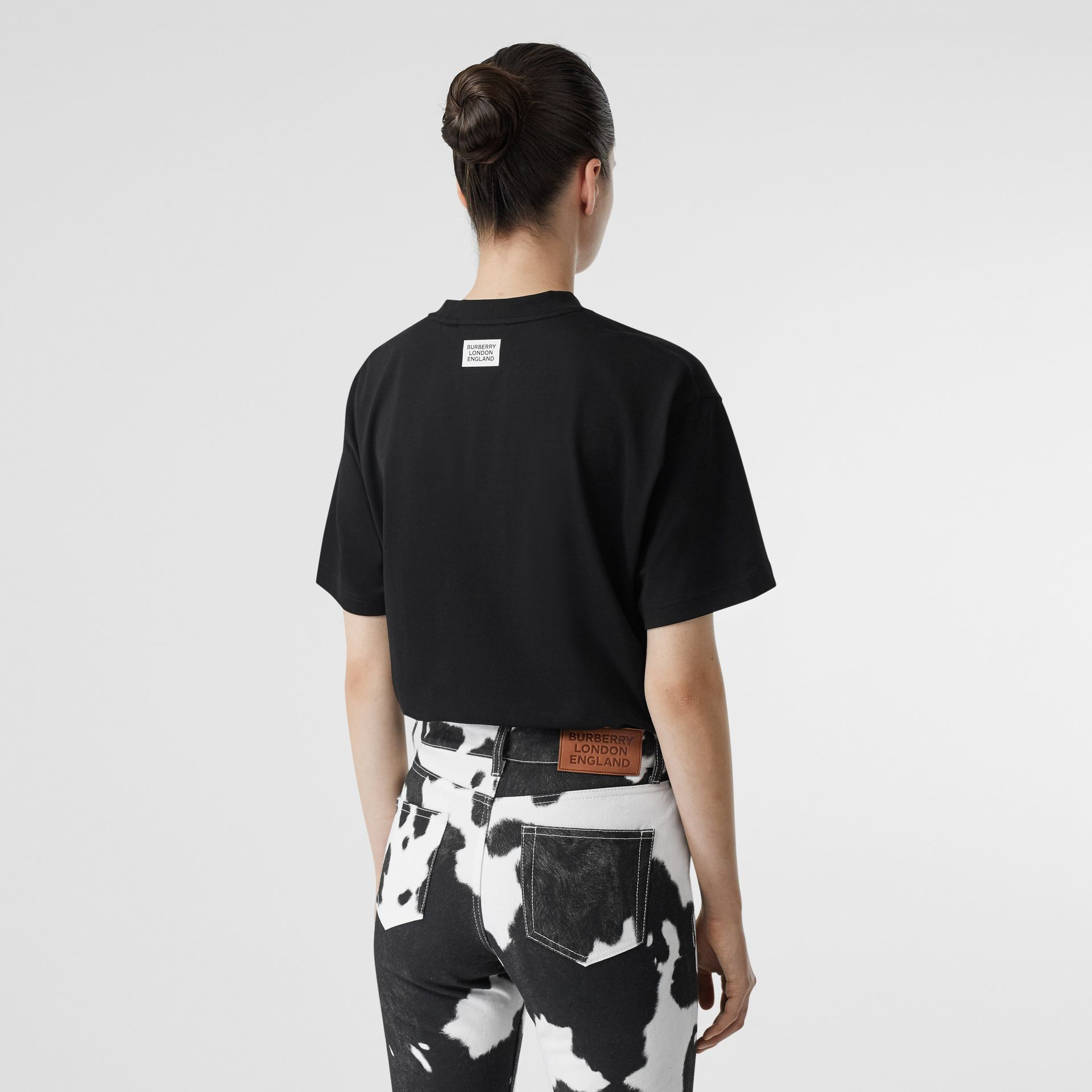 Unicorn Print Cotton Oversized T-shirt in Black - Women | Burberry - gallery image 2