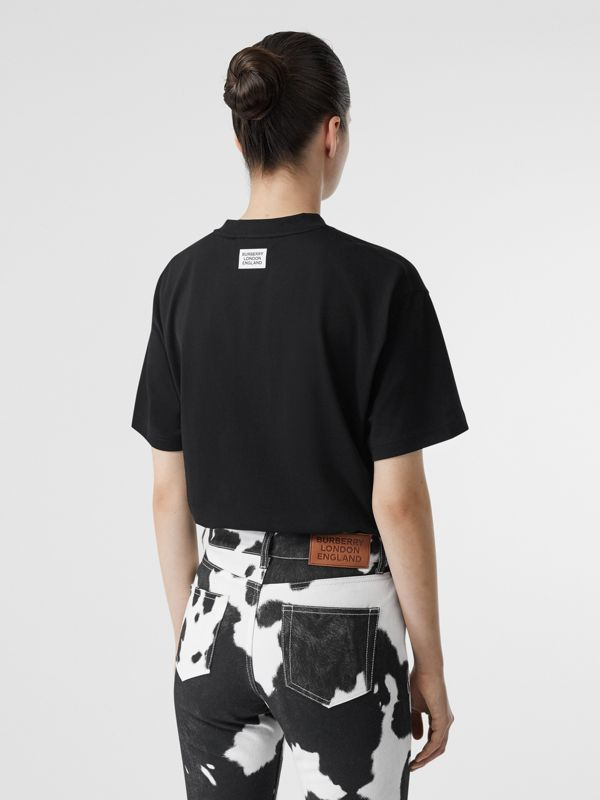 Unicorn Print Cotton Oversized T-shirt in Black - Women | Burberry - cell image 2