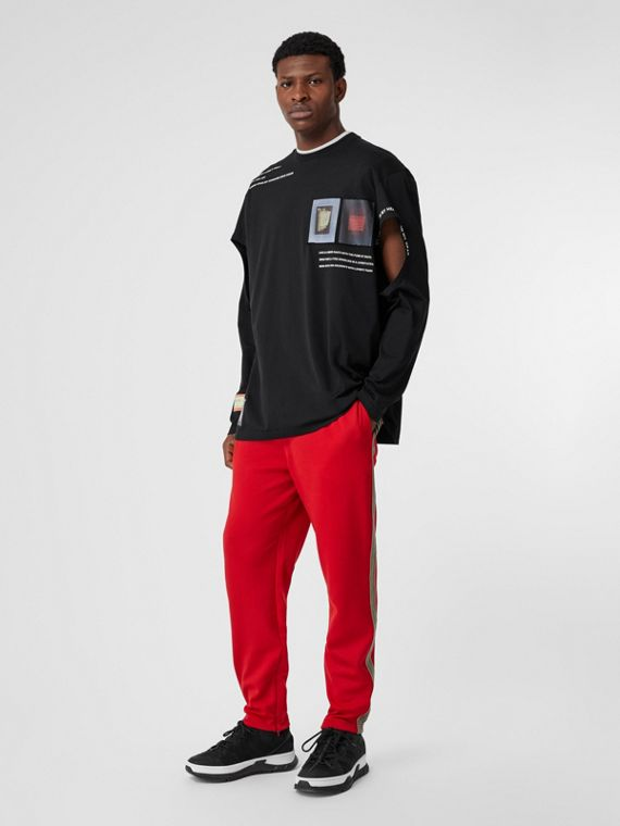 Icon Stripe Detail Jersey Trackpants in Bright Red
