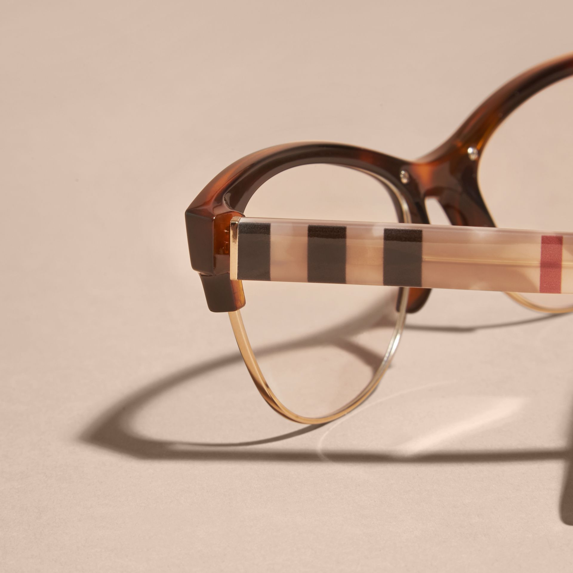 Half-rimmed Cat-eye Optical Frames Light Russet Brown - gallery image 2