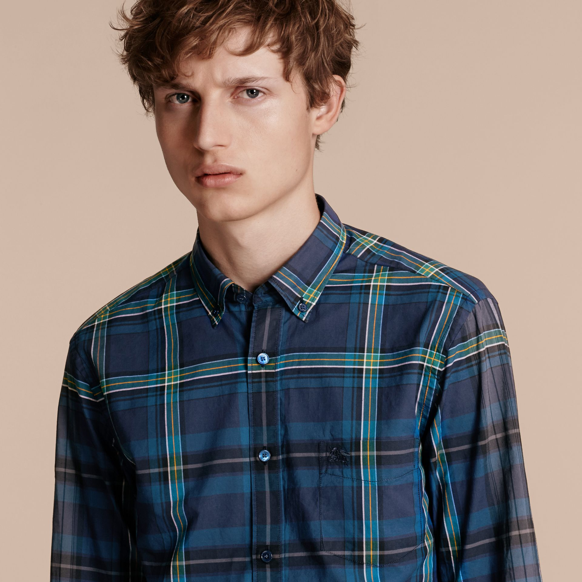 Indigo Button-down Collar Check Cotton Shirt Indigo - gallery image 5