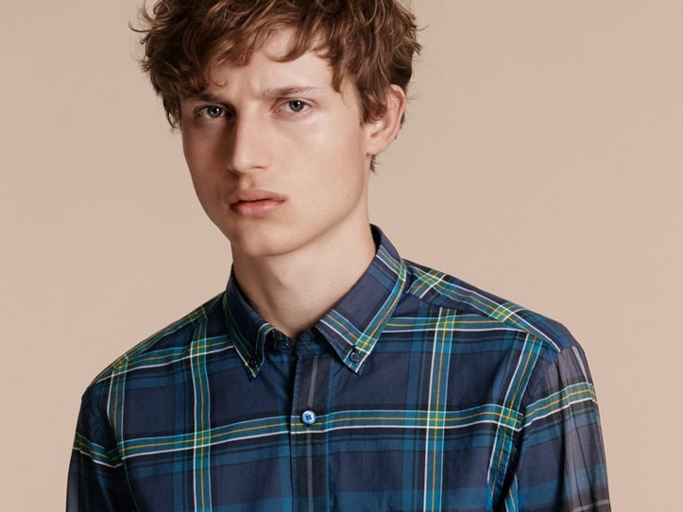 Indigo Button-down Collar Check Cotton Shirt Indigo - cell image 4