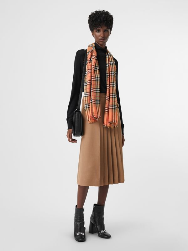 Two-tone Vintage Check Cotton Square Scarf in Coral Rose | Burberry Hong Kong - cell image 2