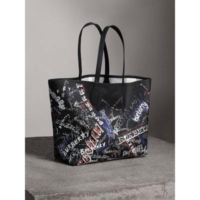 large reversible doodle tote bag - Black Burberry U0pUkY8