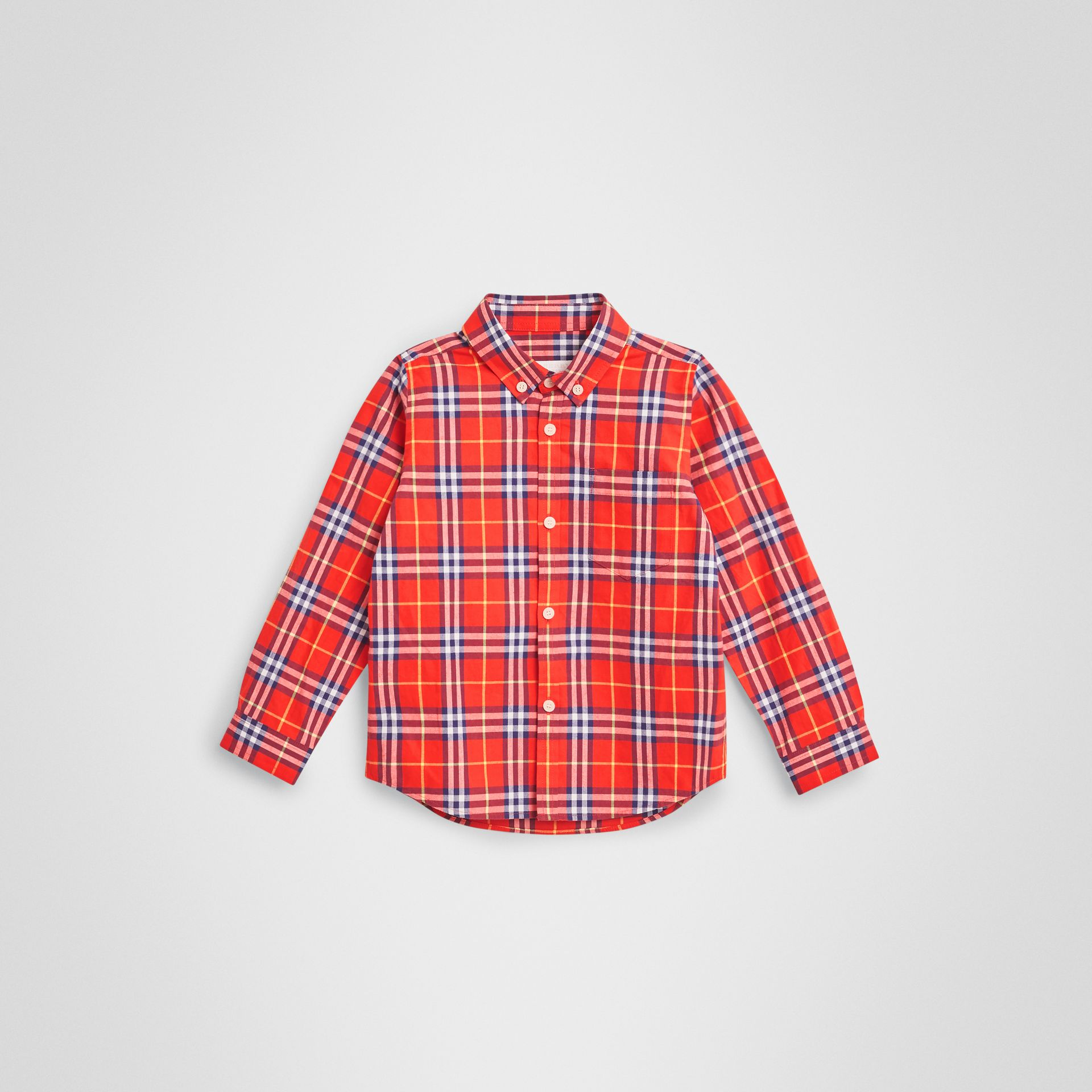 Button-down Collar Check Flannel Shirt in Orange Red - Boy | Burberry - gallery image 0