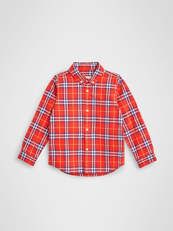 Button-down Collar Check Flannel Shirt in Orange Red