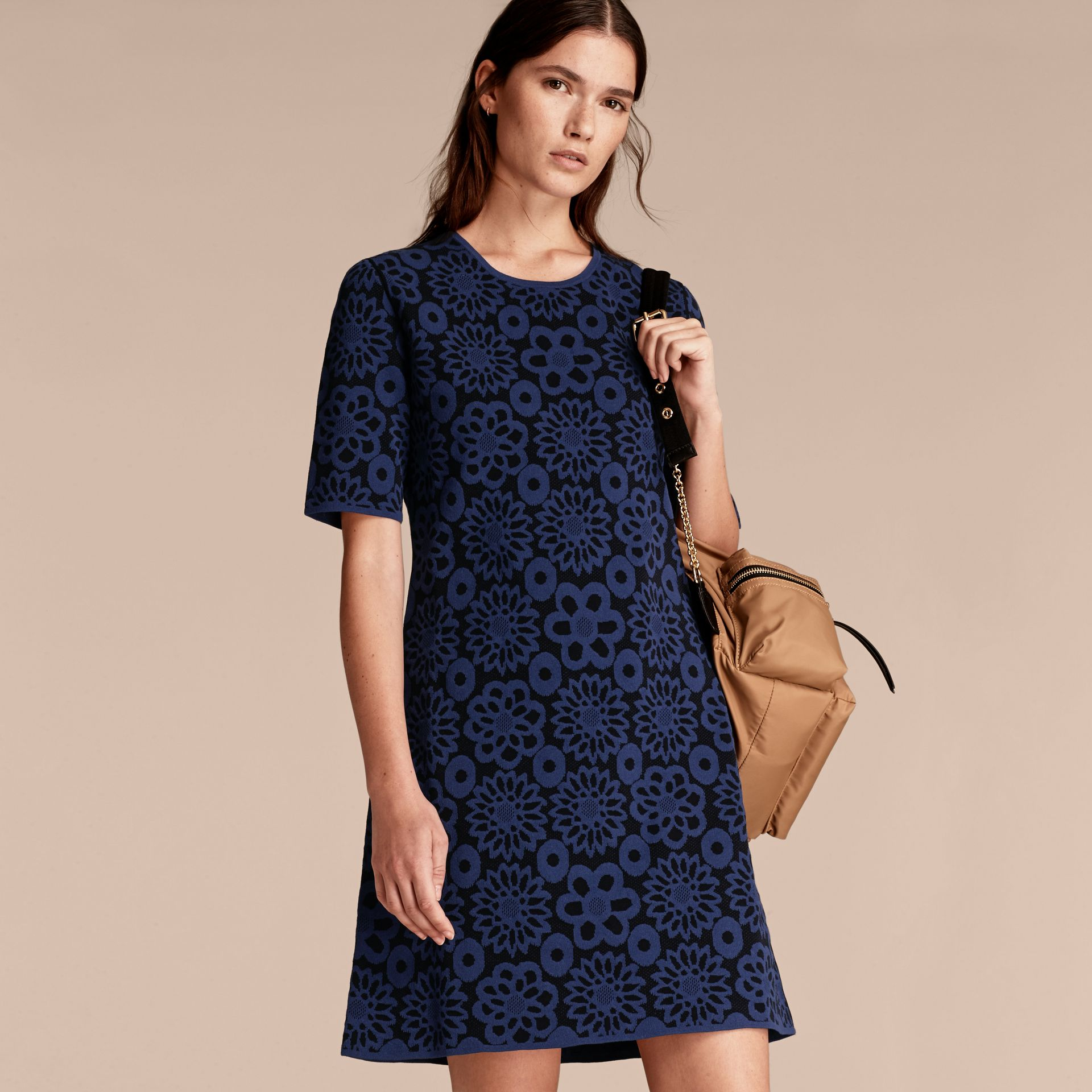 Navy Floral Jacquard Shift Dress - gallery image 6
