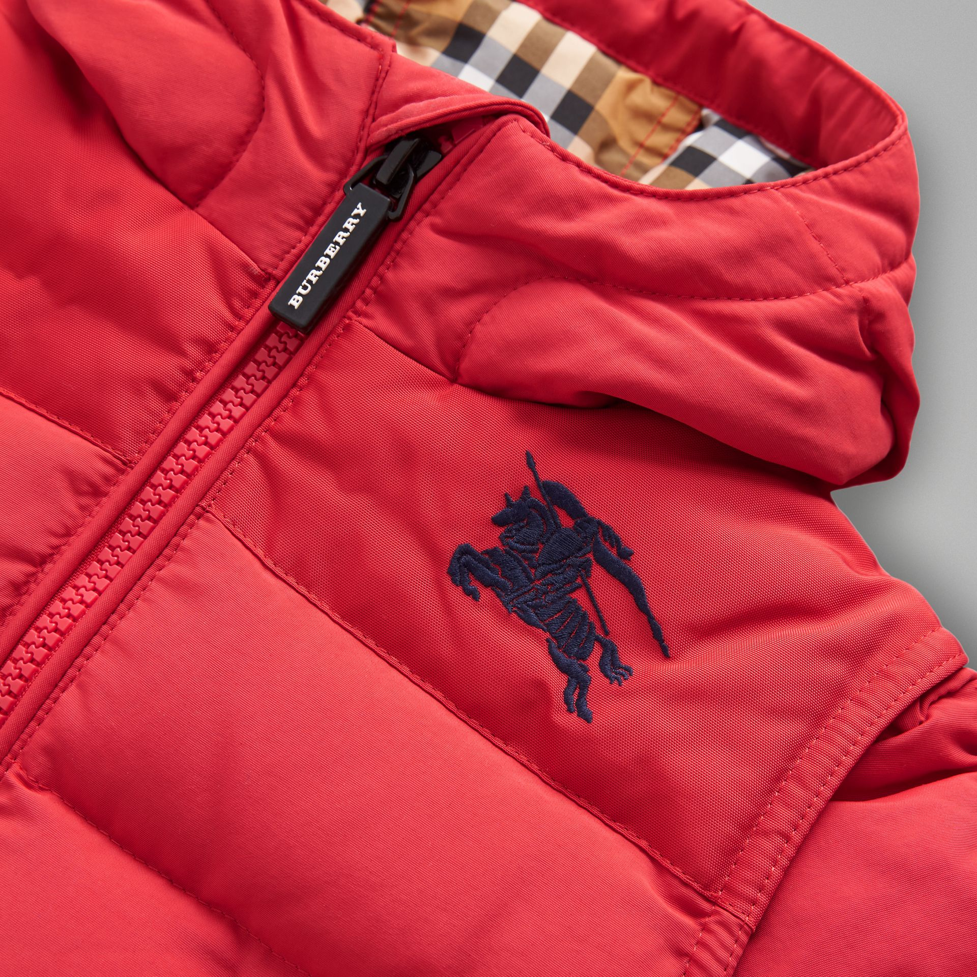 Down-filled Hooded Puffer Jacket in Bright Red - Children | Burberry Australia - gallery image 1