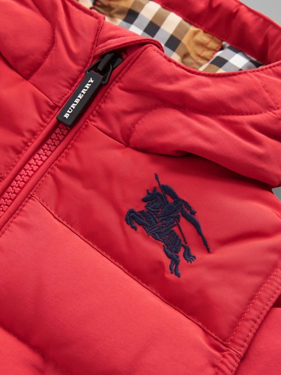 Down-filled Hooded Puffer Jacket in Bright Red - Children | Burberry Australia - cell image 1