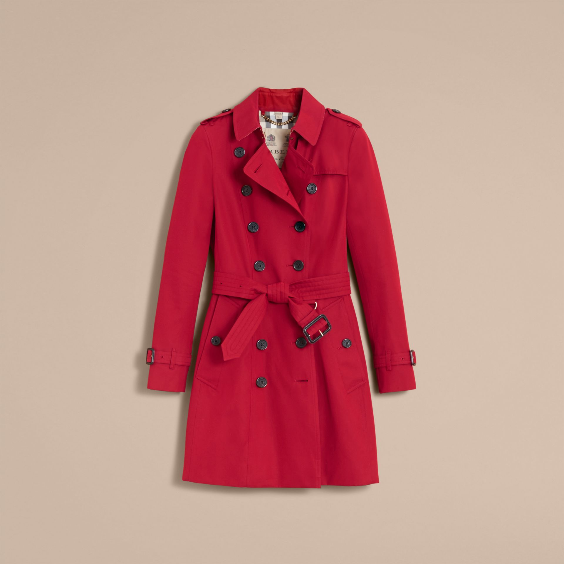 The Chelsea – Mid-length Heritage Trench Coat in Parade Red - gallery image 4