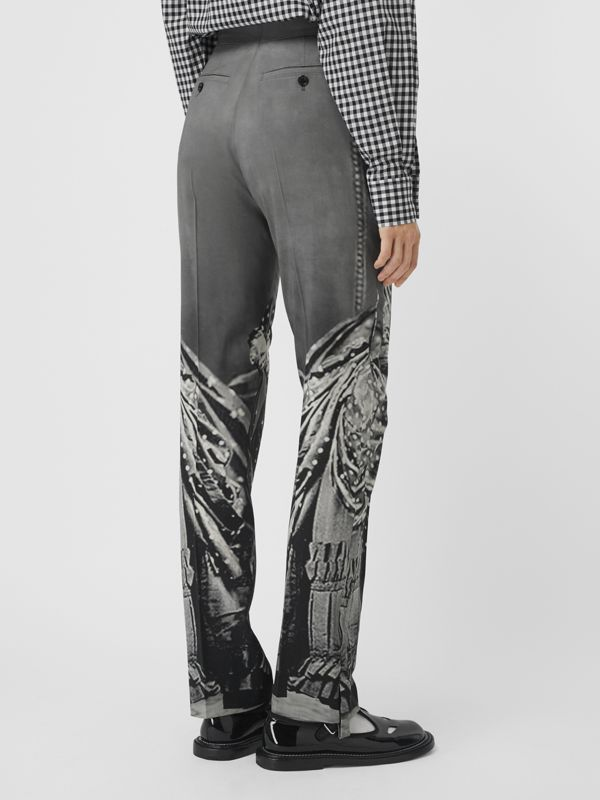 Victorian Portrait Print Stretch Wool Tailored Trousers in Grey - Women | Burberry Australia - cell image 2