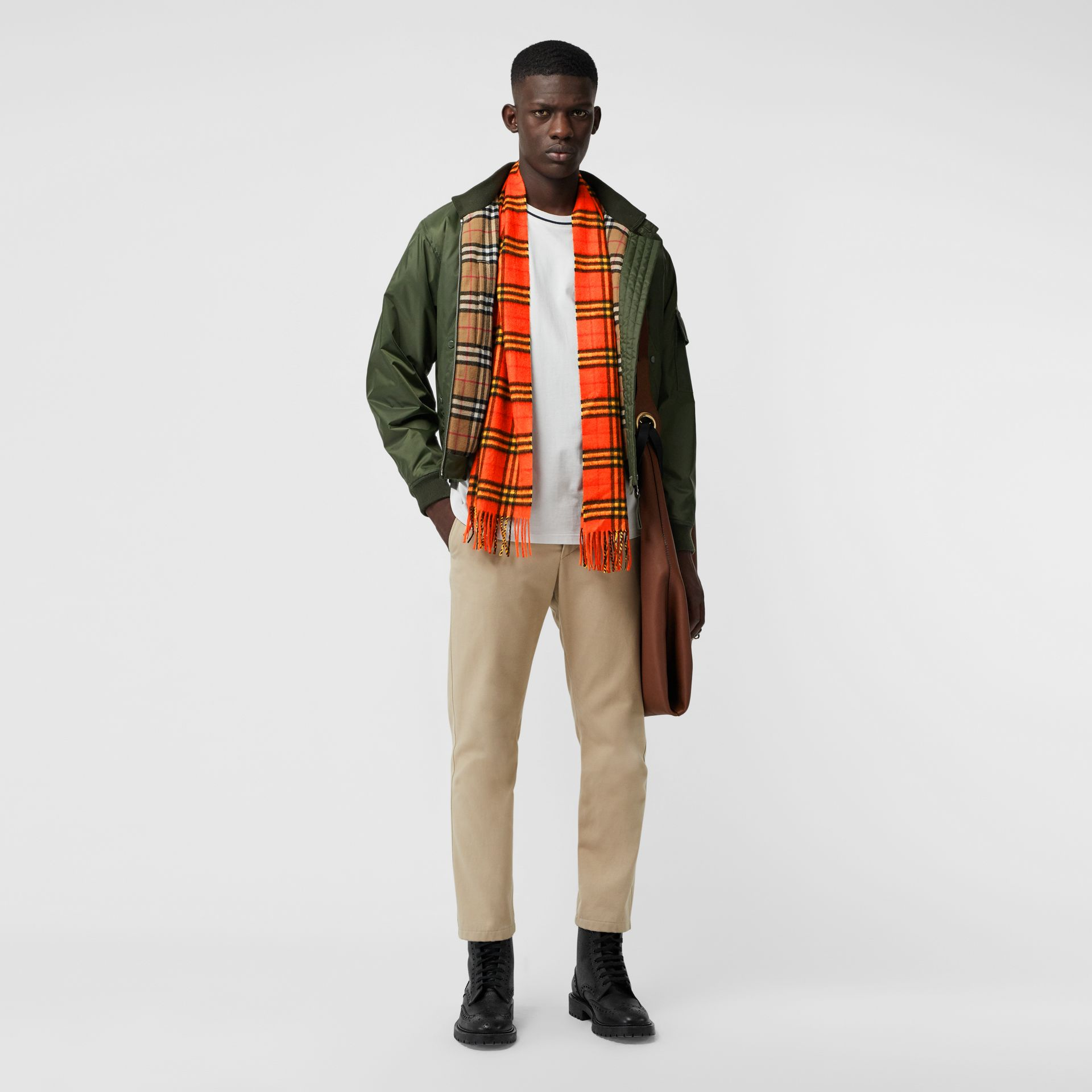 The Classic Vintage Check Cashmere Scarf in Orange | Burberry United Kingdom - gallery image 3