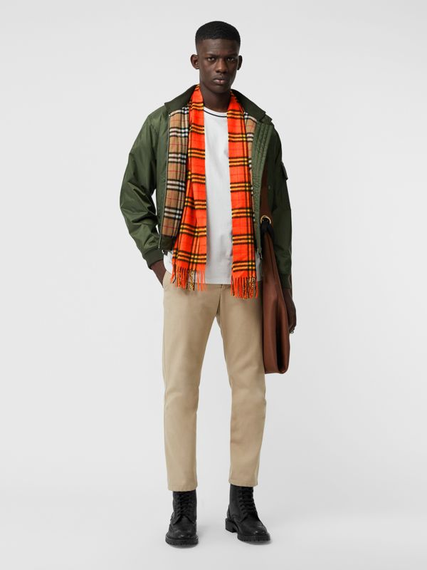 The Classic Vintage Check Cashmere Scarf in Orange | Burberry United Kingdom - cell image 3
