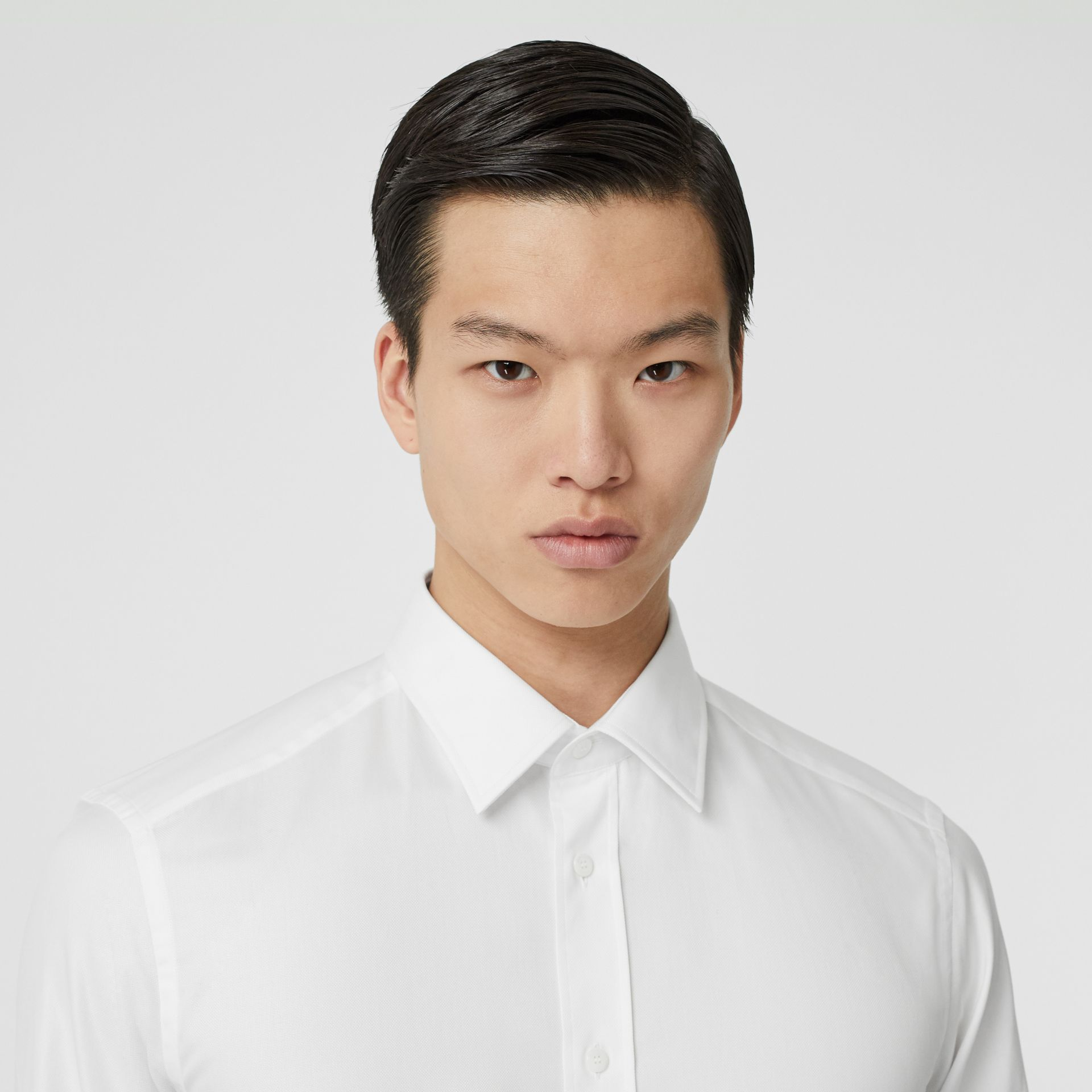Classic Fit Monogram Motif Cotton Oxford Shirt in White - Men | Burberry - gallery image 1