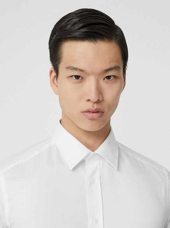 Classic Fit Monogram Motif Cotton Oxford Shirt in White - Men | Burberry United States - cell image 1