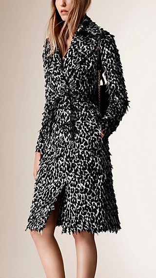 Animal print fil coupé trench coat