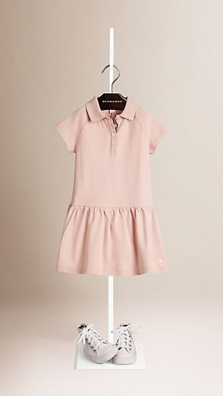 Check Placket Cotton Blend T-Shirt Dress