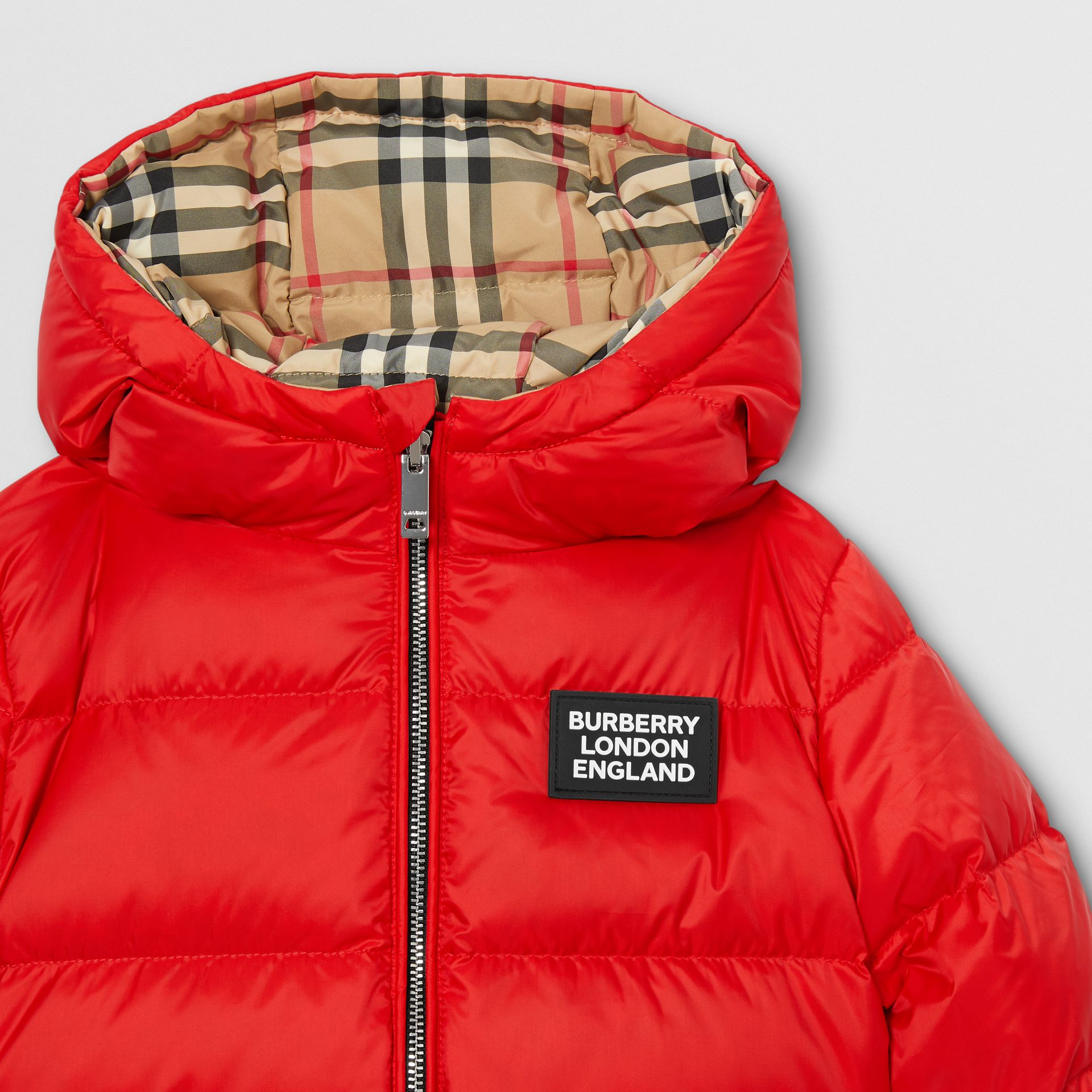 Reversible Vintage Check Down-filled Puffer Jacket in Bright Red - Children | Burberry - gallery image 6