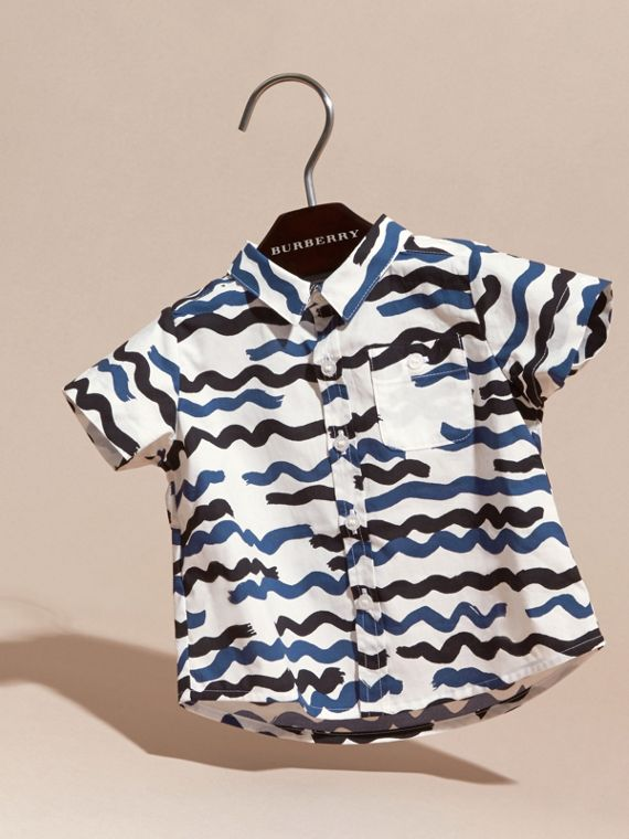 Short-sleeved Wave Print Cotton Shirt - cell image 2